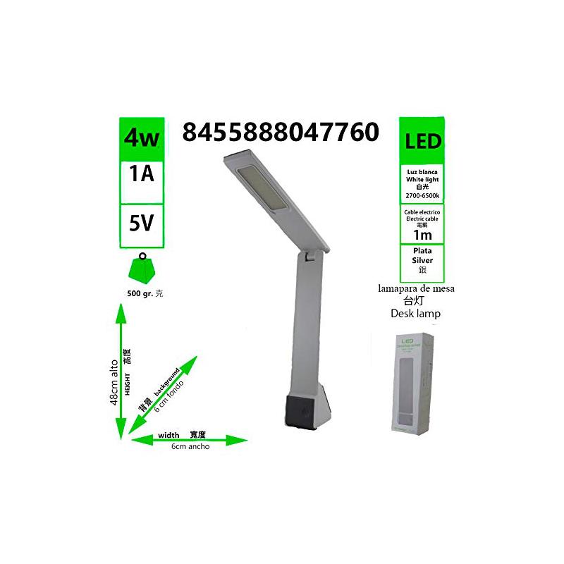 6500K ATENUAR LAMPARA 4W MESA COLOR DE 2700K SIVER PUEDE LED v80mnwN